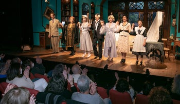 """The cast and audience at the opening night of """"Blithe Spirit,"""" at the Khan Theater in Jerusalem."""