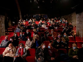 """The audience at the opening night of """"Blithe Spirit"""" at the Khan Theater in Jerusalem, last night."""