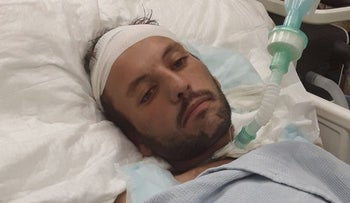 Harun Abu Aram at the hospital.