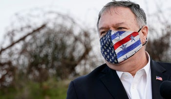 Then-Secretary of State Mike Pompeo speaks after a security briefing in the Golan Heights, in November.