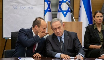 Naftali Bennett and Benjamin Netanyahu at a meeting, last year.