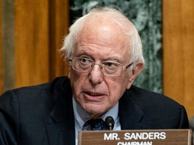 Chairman Sen. Bernie Sanders testifies during a Senate Committee on the Budget hearing, this month.