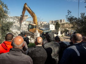 The destruction of Fadi Alian's home in Isawiyah, on Monday.