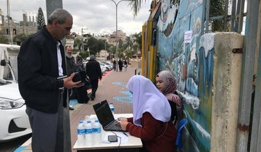 A voter outside a polling place in Kafr Qasem, central Israel, last year