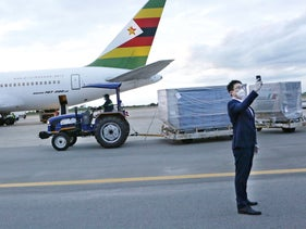 Chinese-made coronavirus vaccines arriving in Harare, Zimbabwe, last week.