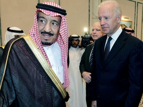 Then U.S. Vice President Joe Biden offers his condolences to then Prince Salman bin Abdel-Aziz