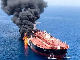 An oil tanker after it was attacked at the Gulf of Oman, June 2019. Image is not related to the events in this article.