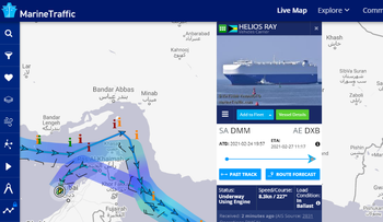 MV HELIOS RAY track as it left Gulf of Oman and then backtracked to UAE after explosion near Iran