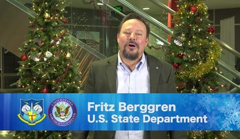 Fritz Berggren appears in a holiday video shared by the U.S. Department of Defense in 2018.