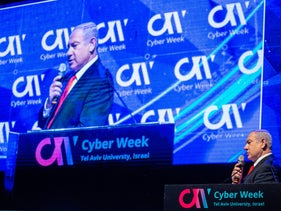 Prime Minister Benjamin Netanyahu gives a speech about Israel's cyber industry in 2019