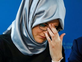 Hatice Cengiz, the fiancee of murdered journalist Jamal Khashoggi, attends a news conference in Brussels, Belgium in 2019.