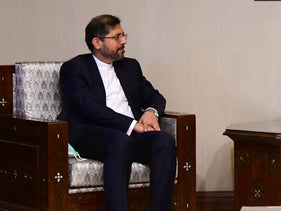 Saeed Khatibzadeh, the official spokesman for the Iranian Ministry of Foreign Affairs, meets with Syria's Foreign Minister Faisal Mekdad in Damascus last month.
