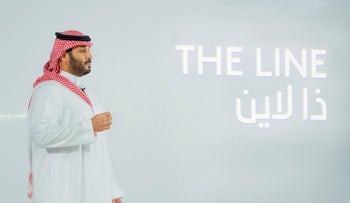 Saudi Crown Prince Mohammed Bin Salman announcing a zero-carbon city called The Line earlier this year.