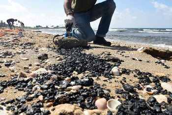Cleanup of a Haifa beach following the unreported oil spill that polluted the coast last month.
