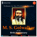 Screenshot of tweet from India's Ministry of Culture Twitter account celebrating the birth anniversary of M.S. Golwalkar, Hindu nationalist and avowed Hitler admirer