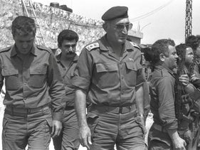 IDF Chief of Staff Moshe Levy visits headquarters of South Lebanese Army in Southern Lebanon in 1986 during the First Lebanon War.