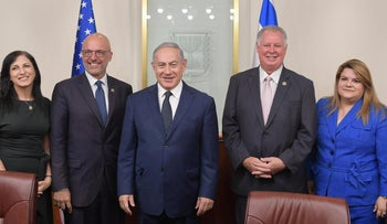 Rep. Ted Deutch, center left, meeting with Prime Minister Benjamin Netanyahu in a 2018 delegation