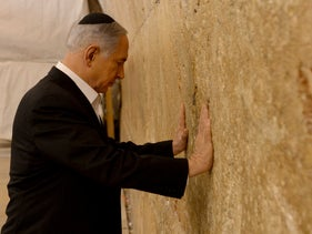 Prime Minister Benjamin Netanyahu at the Western Wall in 2015.