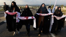 Women march in the town of Tamra against rising violence in the Arab community, last month.