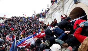 Pro-Trump protesters storm the U.S. Capitol, contesting Congressional certification of the 2020 U.S. presidential election in Washington.