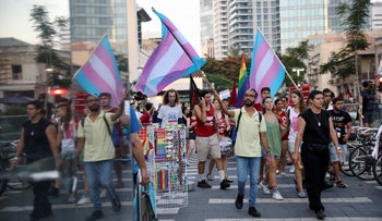 Activist carry transgender flags in a demonstration for LGBTQ rights in Tel Aviv last year.