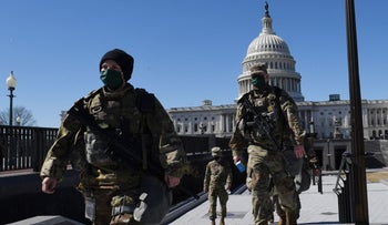 National Guard members near the US Capitol Building on Wednesday.