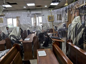 Worshippers at a synagogue in Bnei Brak last September.