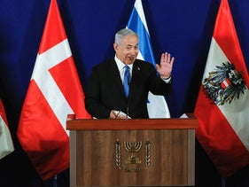 Netanyahu delivers a statement in Jerusalem, today.