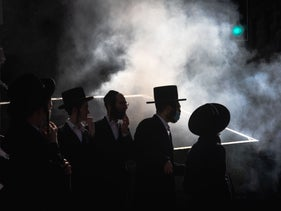Haredi men in Jerusalem in January, protesting the government-ordered lockdown.