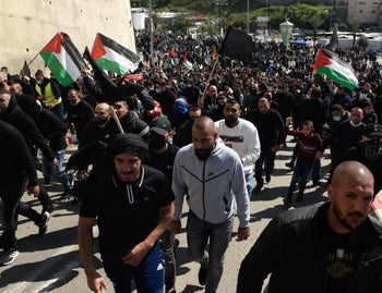 Thousands wave flags in police brutality protest today in Umm-al Fahm