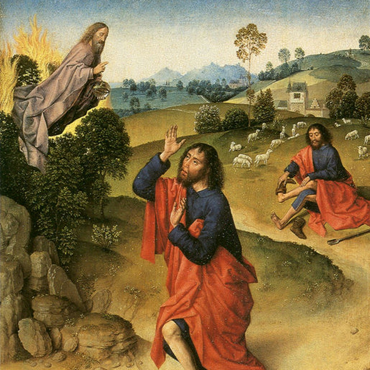 Moses and the Burning Bush, a painting attributed to Dirk Bouts, circa 1450-1475.