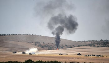 Military maneuvers by Syrian and Turkish forces at the Turkish Syrian border city of Karkamis in 2016