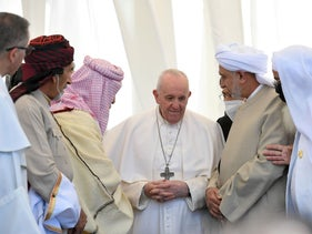 Pope Francis attends an inter-religious prayer at the ancient archaeological site of Ur, Iraq, today.