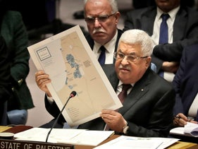 Palestinian President Mahmoud Abbas speaking at the UN Security Council in New York last year.