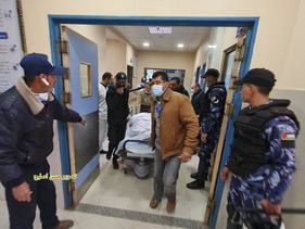 The bodies of the fishermen in a Gaza hospital