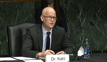 Colin Kahl appears before a Senate Committee on Armed Services hearing regarding his nomination to be Under Secretary of Defense for Policy, in the Dirksen Senate Office Building in Washington, DC