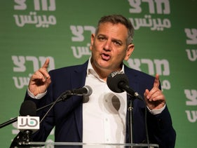 Nitzan Horowitz at a Meretz rally for the upcoming election