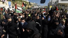 Thousands protest police violence in Umm al-Fahm, Friday.