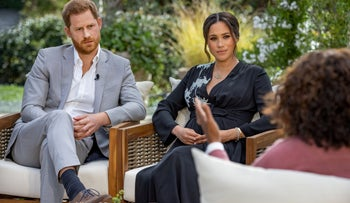 Britain's Prince Harry and Meghan, Duchess of Sussex, interviewed by Oprah Winfrey.