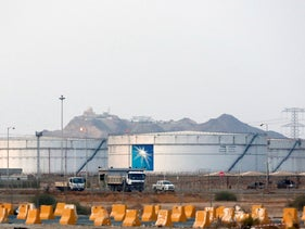 Storage tanks at the North Jiddah bulk plant, an Aramco oil facility, in Jiddah, Saudi Arabia in 2019.
