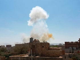 Saudi-led airstrikes on an army base in Sanaa, Yemen on Sunday.