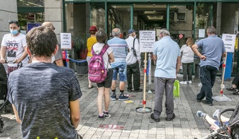A line at the National Insurance Institute office in Petah Tikva.