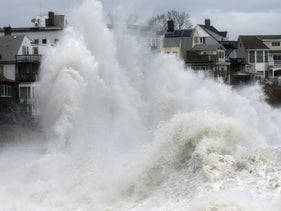 Wave crashing into a seawall in Winthrop, Mass., March 2018, a day after a nor'easter