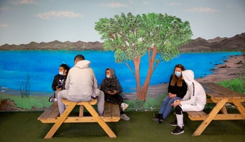 Students at a newly reopened school in Jerusalem on Sunday.