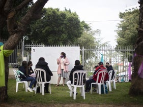 A class being held outdoors this week at Tel Aviv's Ironi Tet school.