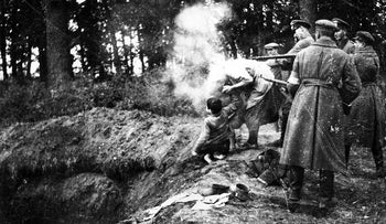 Ukrainian and German soldiers killing a Jewish woman and her children during the Holocaust, the focus of Wendy Lower's book 'The Ravine.'
