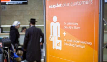 File photo: The check-in area for an easyJet flight at Ben-Gurion International Airport.