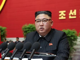 North Korean leader Kim Jong Un speaks during the first day of the 8th Congress of the Workers' Party of Korea (WPK) in Pyongyang in January.