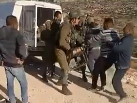 A screengrab from one of the videos of an incident in the southern Hebron hills.