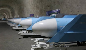 Missiles at an underground site of Iran's Revolutionary Guards at an undisclosed location in the Gulf.